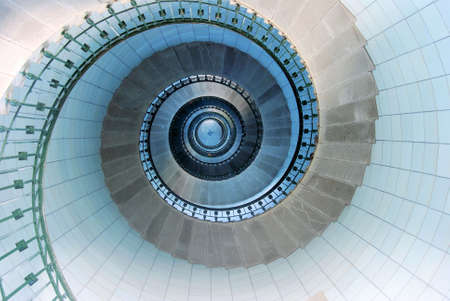 spirals: Upside view into the spiral of a lighthouse in France