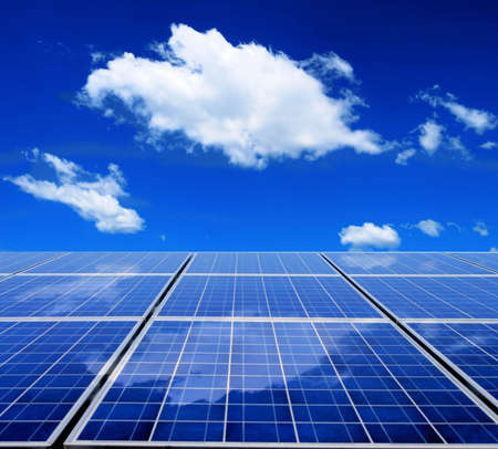 Solar energy panel with blue sky and clouds Stock Photo - 6254186