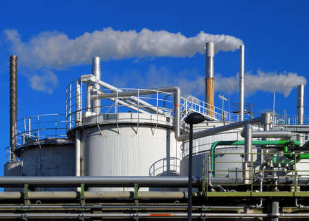 Tanks and pipes of a chemical plant