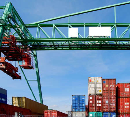 Cargo container and a huge crane in a harbour Stock Photo - 6367321