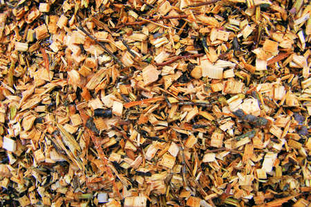 residue: Wood chips for a biomass combustion Stock Photo