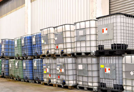 plastic container: Chemical bulk container in a warehouse