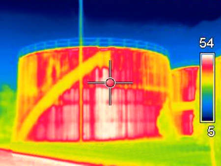 Thermogaphic image of a oil tank Stock Photo