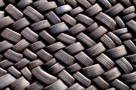 Stack of old tires in a garage