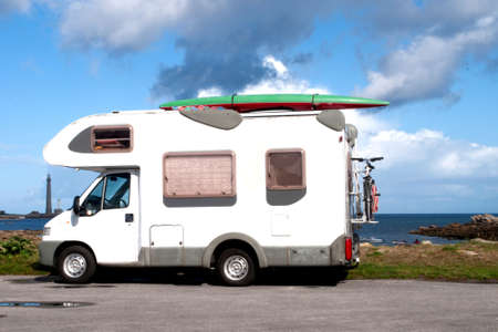 motor home: Camp mobile on a beach in Brittany in France