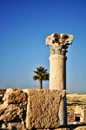 Stones and a pillar on a cultural site in Cyprus Stock Photo