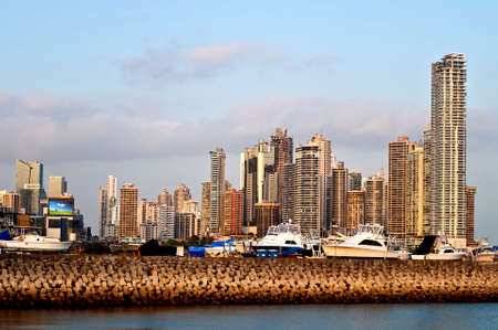 View on the harbour and the skyline of Panama City Stock Photo