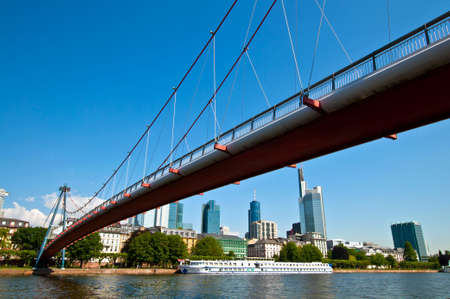 Bridge across the Main in Frankfurt city in Germany photo
