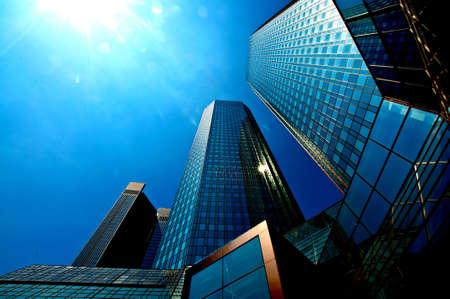 Upside view of an skysraper building in Frankfurt in Germany