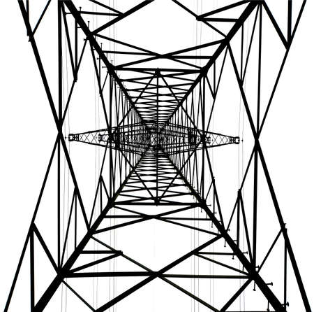 Upside view of an isolated structure of an electrical tower