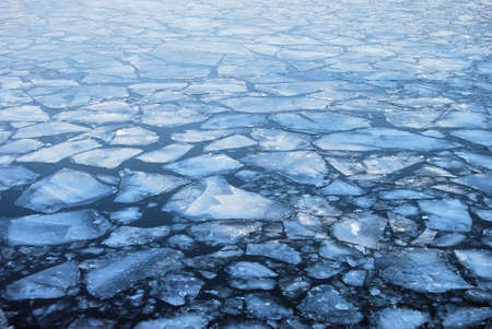 floe: Plates of ice floating on a river