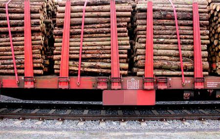 Biomassa hout geladen op een rode trein wagon Stockfoto