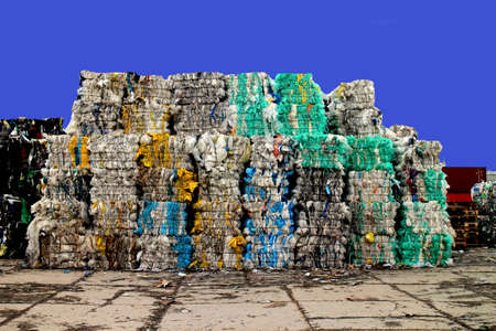 Plastic waste on a recycling site Standard-Bild