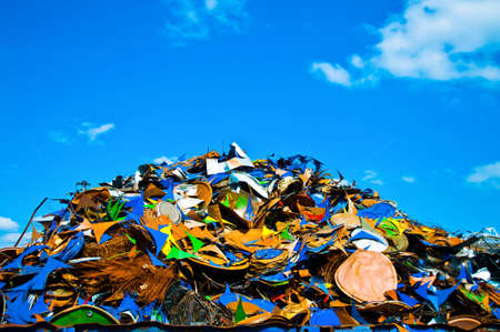 junk yard: Colorful pile of metal waste on a recycling plant Stock Photo