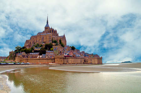 mount saint michael: The town of Mont Saint Michel on the France coast in the Normandie