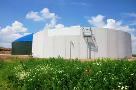 bioenergy: Biomass energy plant construction site with silo Stock Photo