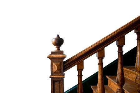 handrail: Old wooden staircase with handrail