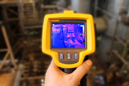 thermography: Thermographic camera in a power plant