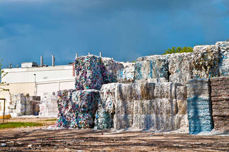 Paper waste in a pulp and paper factory photo