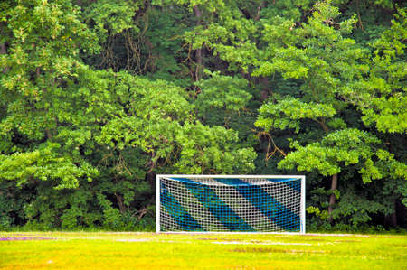 field goal: Soccer goal with blue and white net in front of a green forest Stock Photo