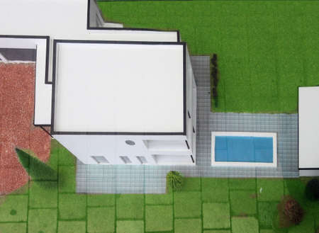 architecture bungalow: Aerial view on a bungalow model with swimming pool