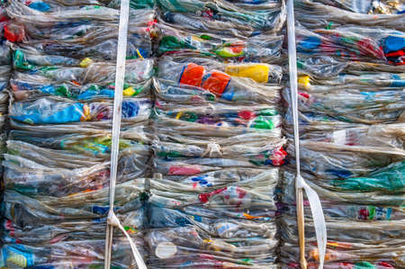 scrap trade: Details of a plastic waste stack in a supermarket