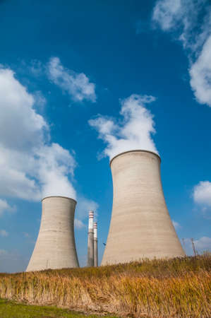 cooling towers: Cooling tower and stacks of the Grootvlei Power Station in South Africa Stock Photo