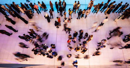 Aerial view on people in motion in a shopping center