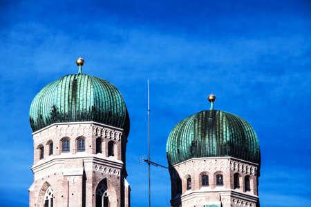 frauenkirche: Towers of the Frauenkirche in Munich in Bavaria