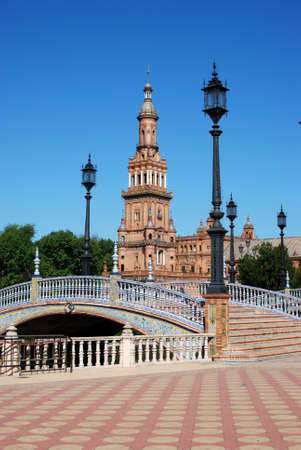 Footbridge and tower in the Plaza de Espana, Seville, Seville Province, Andalucia, Spain, Western Europe Stock Photo - 13221395