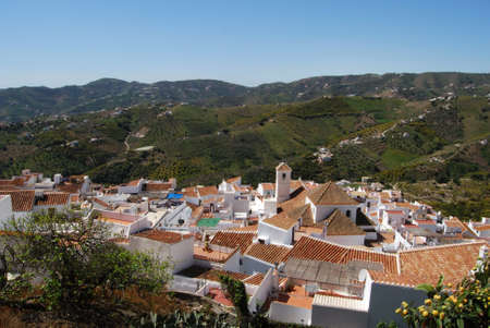 frigiliana: View over the town rooftops and surrounding countryside, Frigiliana, Malaga Province, Andalucia, Spain, Western Europe