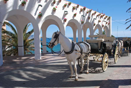 Horse drawn carriages along the Balcony of Europe  Balcon de Europa , Nerja, Costa del Sol, Malaga Province, Andalucia, Spain, Western Europe  photo