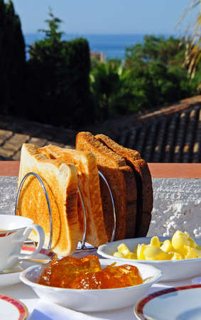 alfresco: Toast and marmalade with view of the Mediterranean sea, Costa del Sol, Malaga Province, Andalucia, Spain, Western Europe
