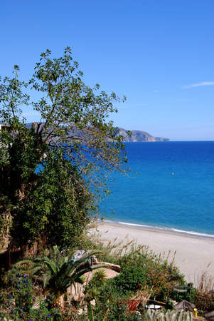 View of Burriana beach and coastline, Nerja, Costa del Sol, Malaga Province, Andalucia, Spain, Western Europe  photo