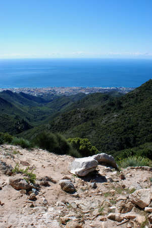 med: Elevated view of Marbella town and sea seen from the Refugio de Juanar, Marbella, Costa del Sol, Malaga Province, Andalucia, Spain, Western Europe