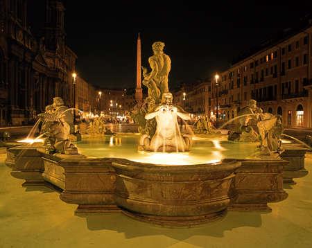 Fontana del Moro at night, Piazza Navona, Rome, Lazio, Italy, Europe
