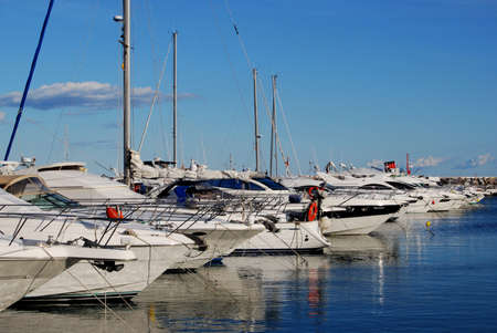 Row of yachts moored in the harbour, Puerto Banus, Marbella, Costa del Sol, Malaga Province, Andalucia, Spain, Western Europe