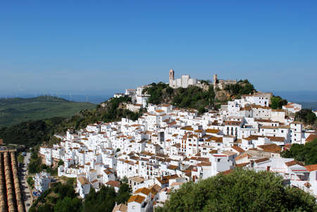 malaga: View of the town and surrounding countryside, pueblo blanco, Casares, Costa del Sol, Malaga Province, Andalucia, Spain, Western Europe