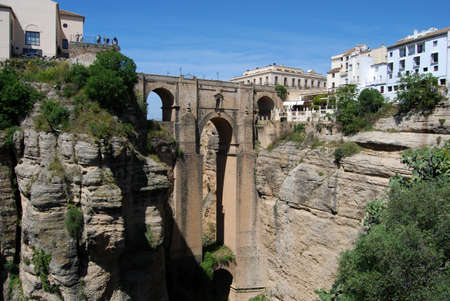 New bridge  Puente Nuevo  viewed from West, Ronda, Malaga Province, Andalucia, Spain, Western Europe Stock Photo - 13239198