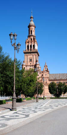 Wrought iron streetlight in the Plaza de Espana, Seville, Seville Province, Andalucia, Spain, Western Europe