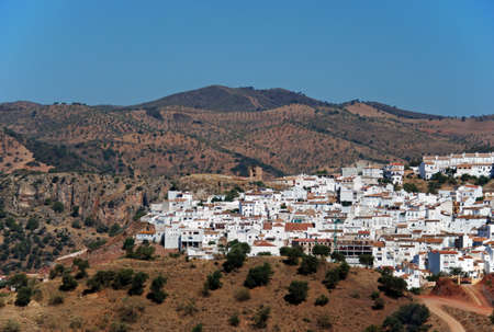 View of the town and surrounding countryside, Almogia, Costa del Sol, Malaga Province, Andalucia, Spain, Western Europe  photo
