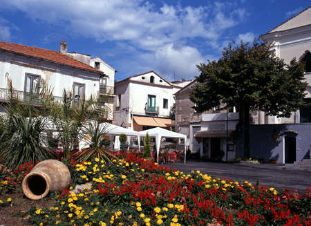 Town square with flowers in foreground, Ravello, Amalfi Coast, Campania, Italy, Europe  photo