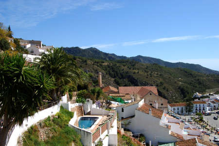frigiliana: View over the rooftops and surrounding countryside, Frigiliana, Malaga Province, Andalucia, Spain, Western Europe