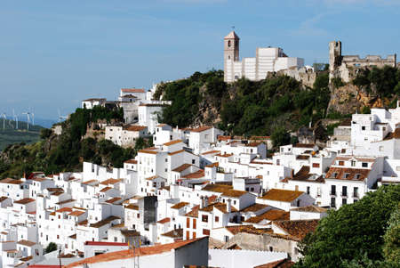 View of the town and surrounding countryside, pueblo blanco, Casares, Costa del Sol, Malaga Province, Andalucia, Spain, Western Europe