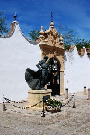 matadors: Statue of Matador - Cayetano Ordonez outside the bullring, Ronda, Malaga Province, Andalucia, Spain, Western Europe