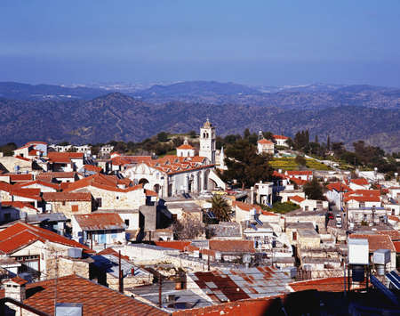 View over the town rooftops towards the mountains, Lefkara, Cyprus  Stock Photo - 13291190