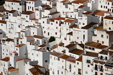 View of townhouses, pueblo blanco, Casares, Costa del Sol, Malaga Province, Andalucia, Spain, Western Europe