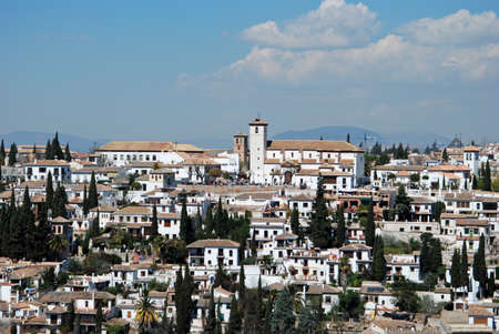 View over the rooftops of the Albaicin District, Palace of Alhambra, Granada, Granada Province, Andalucia, Spain, Western Europe  photo