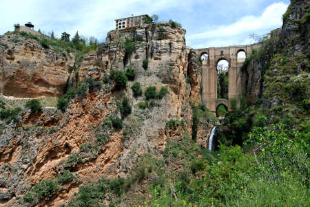 nuevo: New bridge  Puente Nuevo  seen from within the gorge, Ronda, Malaga Province, Andalucia, Spain, Western Europe