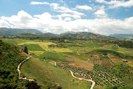 sierra: View towards mountains of the Sierra de Grazalema, Ronda, Malaga Province, Andalucia, Spain, Western Europe  Stock Photo